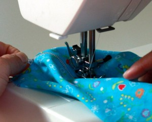 Take care not to sew through more fabric than you intend