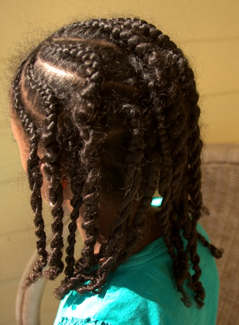 Cornrows, half-braided, half-twisted
